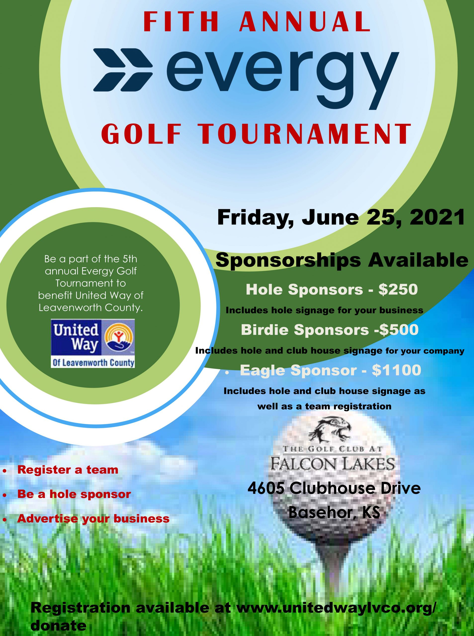 Evergy Golf Sponsors and Teams: Please fill in your sponsor/team info in form and the text box to the left.   You can either  Pay online here Or mail check to: United Way of Leavenworth County, PO Box 21, Leavenworth KS 66048.   Or pay the day of the tournament.   Thank you for supporting United Way!!